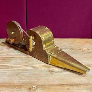 19th Century Brass and Oak Mechanical Bellows