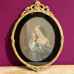 Original 1840 Aquatint Picture of a Young Girl