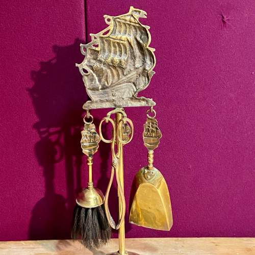 Solid Brass Fire Irons Set on Stand with Ship Decoration image-3