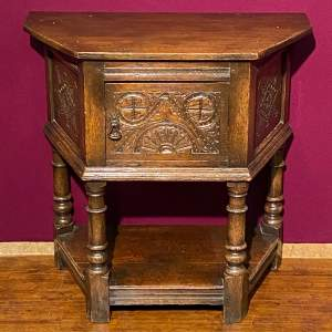 Solid Oak Hall Table with Carved Door and Sides
