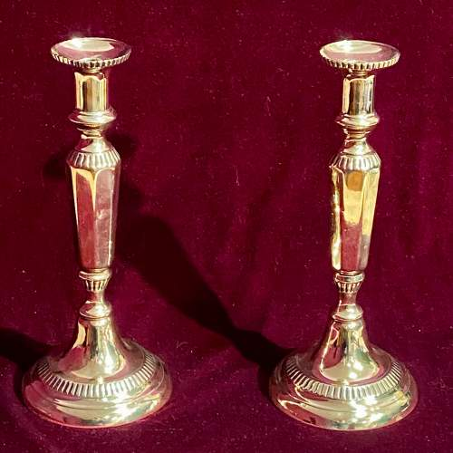 Pair of Early 19th Century Brass Candlesticks image-1
