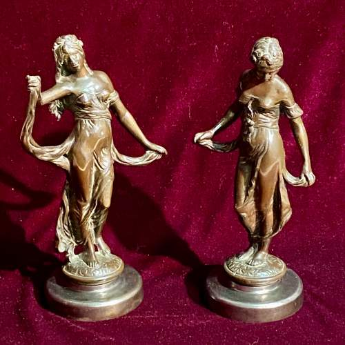 Pair of 19th Century French Bronze Figures of Women image-1
