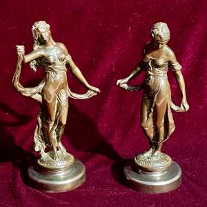 Pair of 19th Century French Bronze Figures of Women
