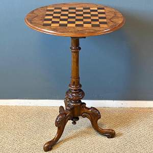 Antique Burr Walnut Inlaid Chess Table