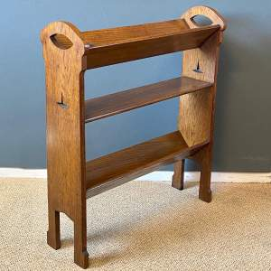 Arts and Crafts Three Tier Oak Book Trough