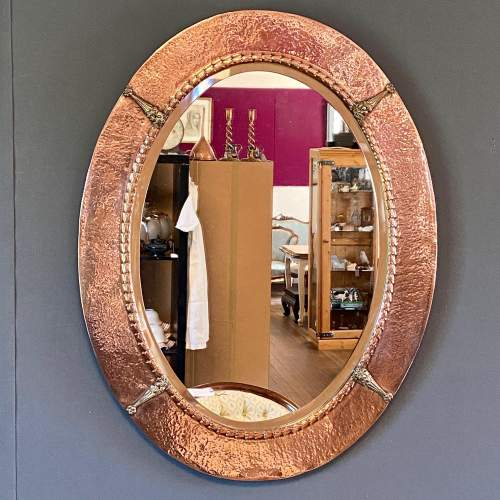 Arts and Crafts Hammered Copper Frame Mirror image-1