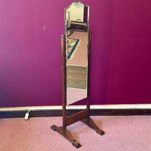 Mid 20th Century Oak Framed Cheval Mirror