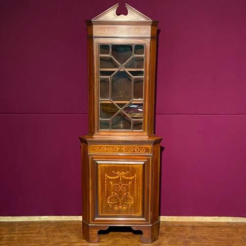 Edwardian Mahogany Inlaid Corner Cabinet image-1