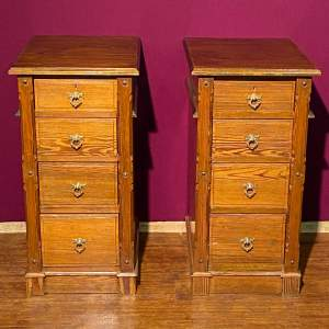 Pair of Late Victorian Four Drawer Filing or Bedside Chests