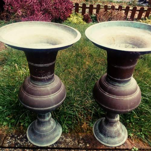 Pair of Bronze Garden Urns image-6