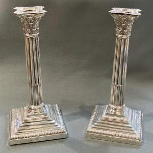 Pair of Edwardian Silver Corinthian Column Candlesticks