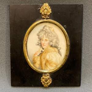 Mid 19th Century Hand Painted Miniature Portrait of a Lady