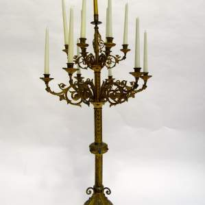 Victorian Brass Church Candelabra