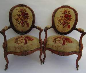 Pair of Victorian Mahogany Carved Open Armchairs