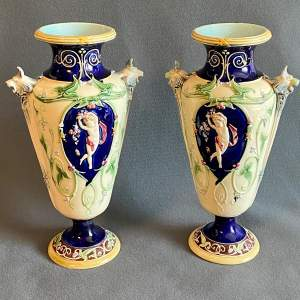 Pair of Art Nouveau Continental Tube Lined Pottery Vases