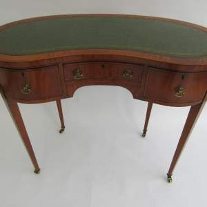 Pretty Edwardian Inlaid Kidney Shaped Ladies Writing Desk