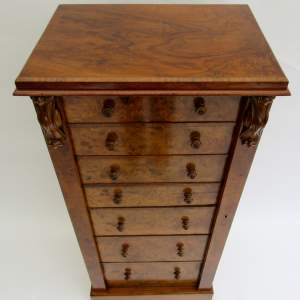 Burr Walnut Secrétaire Wellington Chest