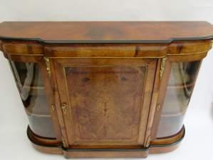 Victorian Burr Walnut Inlaid Credenza