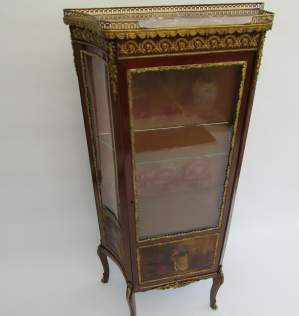 French Mahogany Ormolu Mounted Vitrine with Vernis Martin Panels