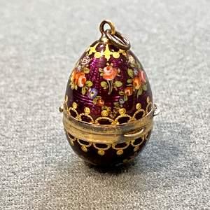 19th Century Viennese Silver Gilt Enamelled Egg Vinaigrette