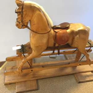 Large Pine Rocking Horse Fitted With Saddle and Tackle