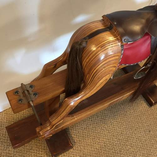 Large Laminated Wooden Rocking Horse Fitted With Tackle and Saddle image-3