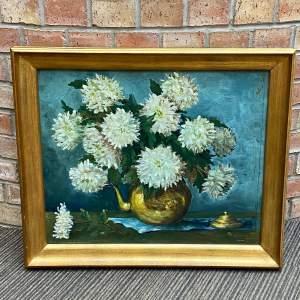 Original Belgian Still Life of Flowers Oil on Board