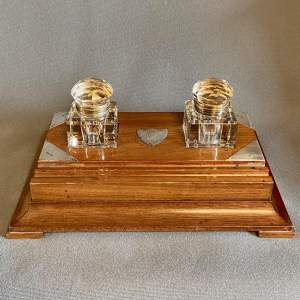 Early 20th Century Mahogany Desk Stand with Two Inkwells