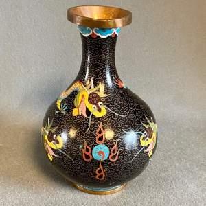 Chinese Cloisonne Bulbous Dragon Vase