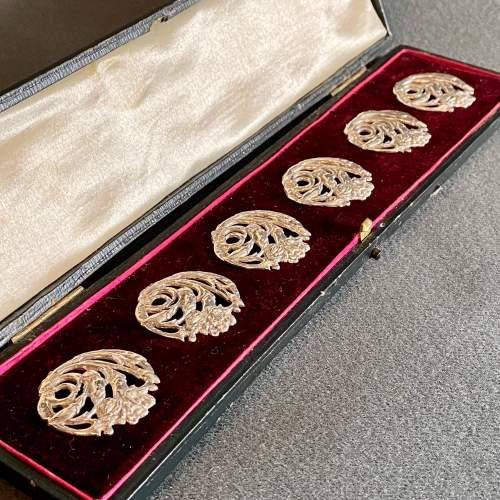 Set of Six Art Nouveau Silver Buttons image-1