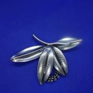 Anton Michelsen Danish Silver Rougie Leaf Brooch