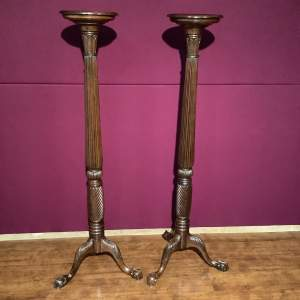 Pair of Victorian Mahogany Torcheres