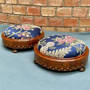 Pair of Walnut Inlaid Victorian Foot Stools