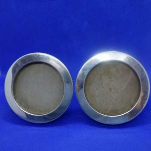Pair of Small Round Silver Fronted Picture Frames