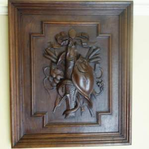 Deeply Carved Oak Panel of Three Fish
