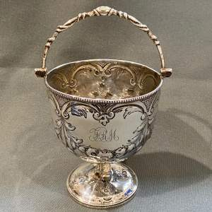 19th Century Silver Embossed Basket