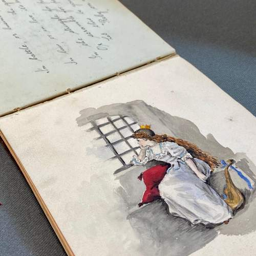 Edwardian Autograph Book with Verse Drawings and Watercolours image-2
