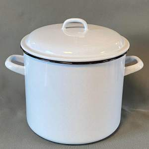 Large Vintage Enamel Cooking Pot with Lid