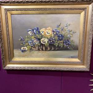 Beautiful Old Belgian Oil On Canvas Painting of Basket Of Pansies