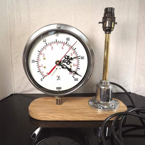 Vintage 1950s Up-cycled Pressure Gauge Clock Conversion Lamp image-1
