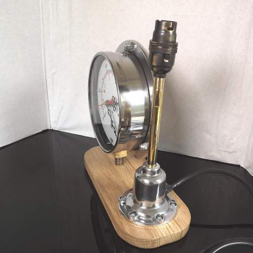 Vintage 1950s Up-cycled Pressure Gauge Clock Conversion Lamp image-2