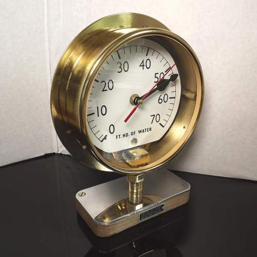 Early 20th Century Up-Cycled Brass Water Gauge Clock Conversion image-1
