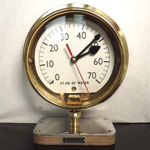 Early 20th Century Up-Cycled Brass Water Gauge Clock Conversion image-2
