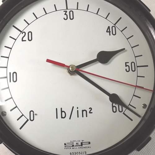 Large Vintage Bakelite Pressure Gauge Wall Clock Conversion image-3