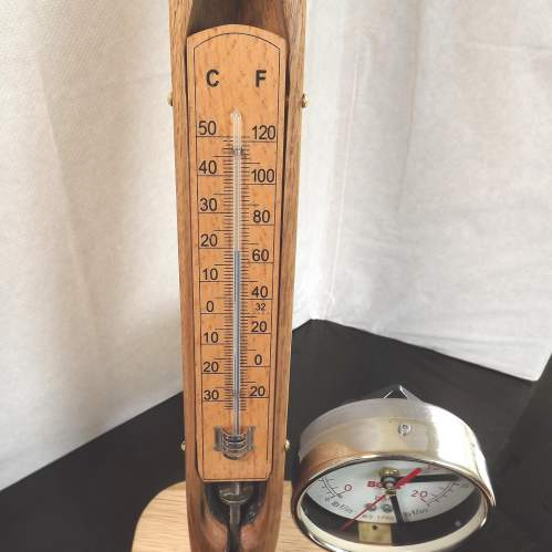 Vintage Up-cycled Cotton Shuttle Temp Gauge and Clock Conversion image-4