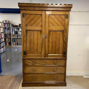 Good Quality Aesthetic Movement Oak Wardrobe with Drawers