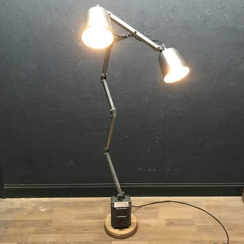 Unique Floor Standing Double Memlite Machinists Lamp - Restored image-1