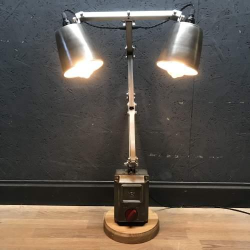 Unique Floor Standing Double Memlite Machinists Lamp - Restored image-2