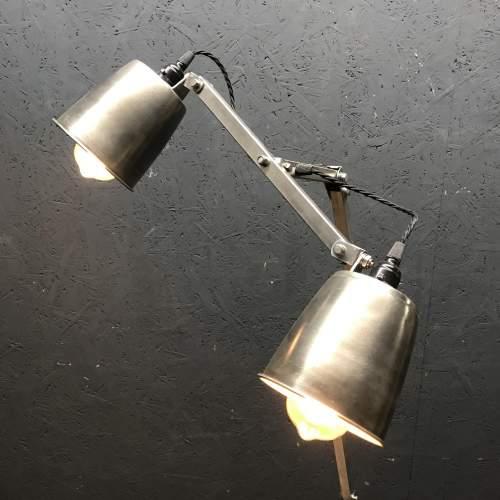 Unique Floor Standing Double Memlite Machinists Lamp - Restored image-3