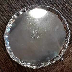 "Antique 10"" Sterling Silver Crested Tray"